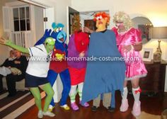 Muppet Babies gang: Kermit the Frog, Baby Gonzo, the headless Nanny, Baby Beaker, and Baby Miss Piggy (see why that was inspiring??) Based solely on the mental image of one of my masculine, tall male friends dressed as Miss Piggy, I urged my friends to join me in dressing up as various
