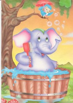 Elephant Elephant Pictures, Elephant Illustration, Birthday Frames, Little Duck, Elephant Love, Decoupage Paper, Cellphone Wallpaper, Stop Motion, Kids Cards