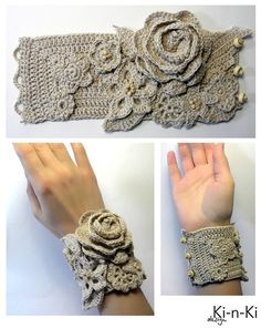 If I could crochet. Fingerless Gloves Crochet Pattern, Crochet Mittens, Crochet Yarn, Crochet Flowers, Crochet Bracelet, Crochet Clutch, Crochet Earrings, Textile Jewelry, Fabric Jewelry