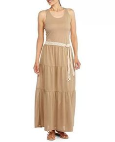 Faded Glory Women S Knit Bottom And Woven Top Maxi Dress From Love It Pinterest