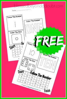 FREE Easy Math Worksheets! Super FUN that teaches counting and color recognition.