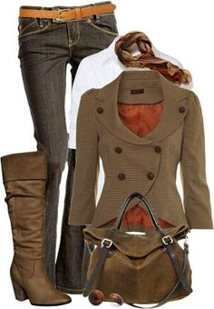 Love all of it...buttons & neckline on blazer are awesome; plus little bit of puff in the sleeve! cool brown bag