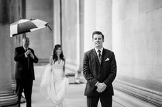 What is a First Look, and Should I do One? — Jenna Hidinger Photography; what is a first look, wedding day first look, should i do a first look, first look with groom, wedding couple posing, bride and groom posing, groom reaction to bride, pittsburgh wedding venue, mellon institute wedding photos, the columns in pittsburgh, wedding dress ideas, couple posing ideas