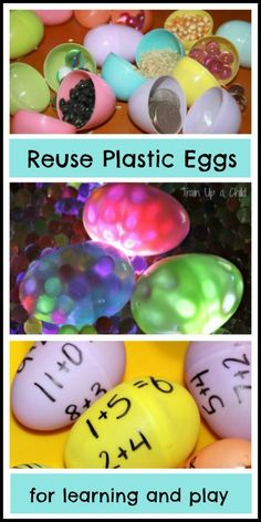 8 ideas for play and learning with plastic eggs. Don't throw away those eggs after Easter! There are so many ways to include them in play and educational activities for kids including math, word games, sensory play, art and much Educational Activities For Kids, Easter Activities, Sensory Activities, Learning Activities, Sensory Play, Childhood Education, Kids Education, Early Education, Learning Time