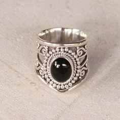 Natural Black Onyx Statement Ring - donbiujewelry - 1
