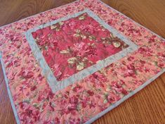 Quilted Cottage Chic Table Topper, Quilted Table Topper, Pink Roses Decor, Shabby Chic Decor, Quilt, Quilted Table Runner, Free USA Shipping