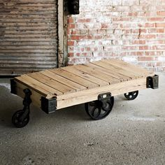 this is an ok design but to me its been created for a comedy because its too low for its purpose but its not bad design Refurbished Furniture, Recycled Furniture, Wood Furniture, Cafeteria Table, Ok Design, Design Ideas, Cart Coffee Table, Living Room Themes, Living Rooms