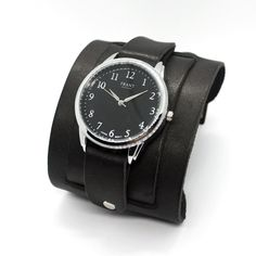 Casual Dafrant cuff watches with wide black leather cuff double straps Johnny Depp cuff style Spike Bracelet, Bracelet Making, Leather Cuffs, Black Leather, Cuff Watches, Vintage Fashion, Vintage Style, Johnny Depp, Quartz Watch