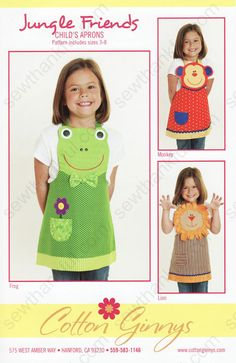 Sewing For Kids Easy Jungle Friends Apron sewing pattern from Cotton Ginnys - Love This : Jungle Friends Apron sewing pattern from Cotton Ginnys Sewing Hacks, Sewing Crafts, Sewing Projects, Sewing Tips, Child Apron Pattern, Cool Aprons, Childrens Aprons, Fabric Purses, Sewing Aprons