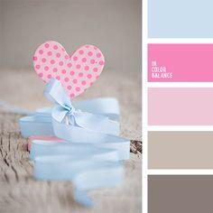 celeste y rosado, color azul bebé, colores para el día de los enamorados, colores para el día de San Valentín, colores para una velada de San Valentín, colores para una velada en honor a los enamorados, colores pasteles suaves, marrón y azul claro, paleta de colores románticos, rosado