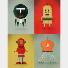 """Robot Quad 001 Limited Edition Print  28.00 This limited edition giclee print is printed on 100% cotton rag and signed by the artist, David Plunkert. This edition is limited to 250. Image area is approximately 7"""" x 9"""". Mat measures 11"""" x 14""""."""