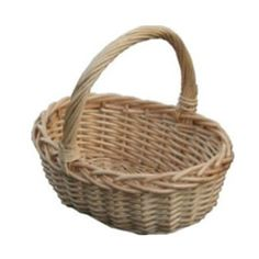 Pretty little Childs Oval Wicker shopping basket in full buff willow wicker. , ideal for Easter, Bridesmaids, Flower Girls. Choice Baskets