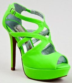 Qupid Cut Out Platform High Heel Stiletto Neon Shoes in Neon Green or Neon Pink. Platform Stilettos, High Heels Stilettos, Stiletto Heels, Neon Sandals, Neon Shoes, Peep Toe Shoes, Ankle Strap, Fashion Shoes, Glitter