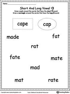 *FREE* Vowels: Short or Long A Sound Words: Use this printable worksheet to practice recognizing the short and long A sounds.