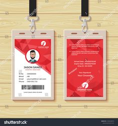 Red Geometric Employee Id Card Design Template — Stock Vector Pertaining To Company Id Card Design Template - Professional Templates Ideas Identity Card Design, Id Card Design, Id Design, Badge Design, Business Card Design, Free Printable Card Templates, Id Card Template, Employee Id Card, Company Id
