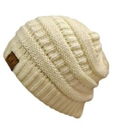 Winter White Ivory Thick Slouchy Knit Oversized Beanie Cap Hat Knit Hats ac4902c2e7b0