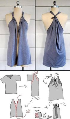 Repurposed t shirt! Cover up, Top or dress..... Just don't cut the front for the dress or top.