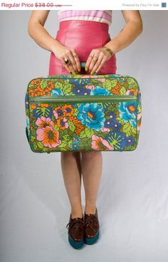 Vintage 60's Bright Floral Luggage by JoulesJewels