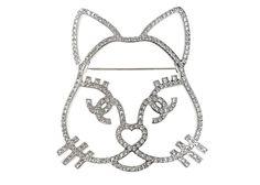 Chanel Silver Crystal Cat Brooch