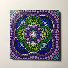 Hand Painted Mandala on Canvas, Mandala Meditation, Dot Art, #318 by MafaStones on Etsy
