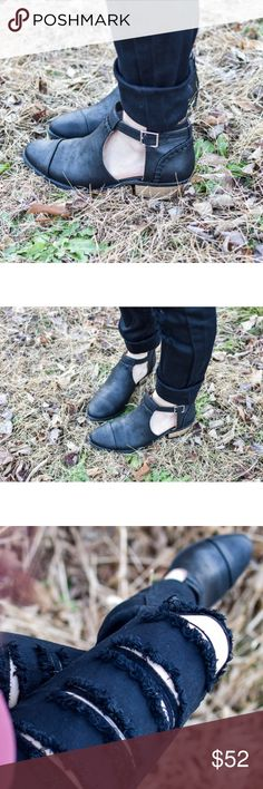 "BUCKLE CUTOUT ANKLE BOOTIE PRICE FIRM  Our Buckle Cutout Ankle Bootie is the perfect go to bootie! Chic low profile thats perfect for everyday wear.  -Synthetic faux leather -Stitching  detail and cutout open sides -Buckle Strap -1.5"" low stacked heel -Runs long, customers recommend sizing down a half size. Luxe Label Shoes Ankle Boots & Booties"