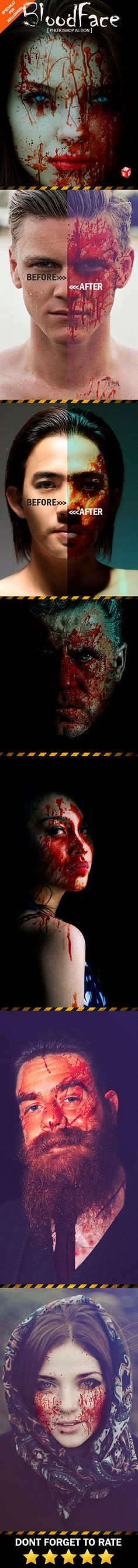 DOWNLOAD:goo.gl/MlrMXw BloodFace Photoshop ActionCreate a great effect on your blood drops image in just a few minutes. Action is designed to achieve blood aliasing at the portrait, and save your t...