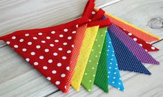 rainbow+nursery+decor | Birthday Decoration Fabric Bunting Fabric Banner by thespottedbarn