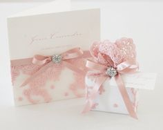 Pink Antique Lace Scented Soap Bomboniere