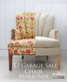 $3 Garage Sale Channel Back Chair Gets Deconstructed Makeover by Prodigal Pieces www.prodigalpieces.com