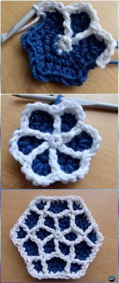 Collection Crochet Hexagon Motif Free Patterns Solid Hexagon