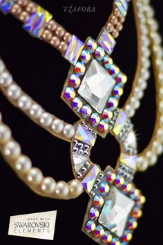 Gatsby-inspired pearl  Swarovski ballroom necklace.
