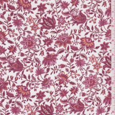 Red/White Floral Challis - Fabric By The Yard