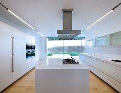 Concrete House in Ovar, Portugal, by Paula Santos - Dezeen Minimalist House, Minimalist Kitchen, Elegant Kitchens, Beautiful Kitchens, Plans Architecture, Light Wooden Floor, Design Living Room, Best Kitchen Designs, Kitchen Ideas