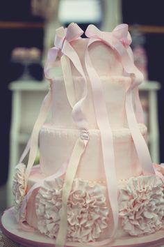 Ribbons and ruffles cake by Sweet Bloom Cakes #My Little Jedi # Tomkat, perfect for a first birthday party.