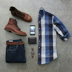 Outfit grid - Blue check shirt and jeans Outfit Grid, Mode Outfits, Casual Outfits, Fashion Outfits, Casual Shirts, Dress Outfits, Fashion Mode, Mens Fashion, Fashion Trends