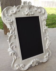 WHITE CHALKBOARD Framed White Chalk board Vintage Style Frame Wedding Table NUMBERS Place Cards Name Cards Candy Bar or Nursery Decor on Etsy, $32.00