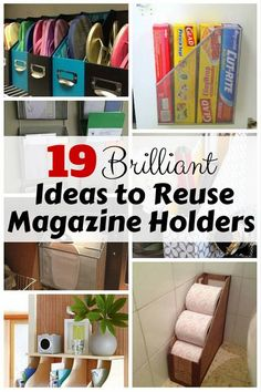 Pin Share Tweet StumbleUponMagazine holders come in different sizes, and are often made of wood, cardboard or metal. Aside from reading materials, they can be used to organize a surprising number of household items. Homeandgardeningideas.com have gathered 19 brilliant DIY ideas that make the most of these holders. Click the link below to find out. …