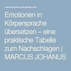 Emotionen in Körpersprache übersetzen – eine praktische Tabelle zum Nachschlagen | MARCUS JOHANUS