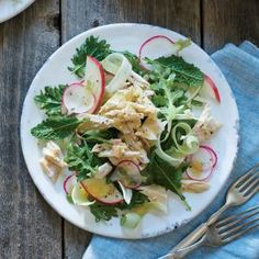 Poached Albacore with Fennel, Apple, and Radish Salad | MyRecipes.com #myplate #protein #veggies #fruit