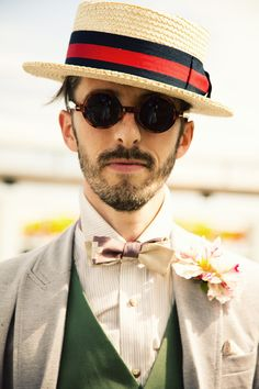 bowties and boaters source: from me to you #fashion #men Unique Wedding Hairstyles, Look Chic, Pitta, Wedding Suits, Bow Tie Wedding, Vest Jacket, Shirt Vest, Hats For Men, Costume