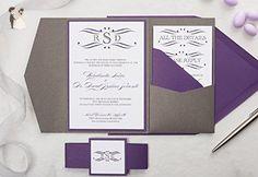 Grey and Purple Wedding Invitation, Eggplant Wedding Invitation Set, Monogram Wedding Invitation, SAMPLE Rosalinda, Pocketfold Wedding Suite - Wedding party invitations (*Amazon Partner-Link)