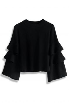 Black Knit Top with Tiered Frilling Sleeves - Retro, Indie and Unique Fashion