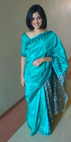 Turquoise Raw silk saree... Elegance and simplicity!