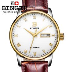 Switzerland men's watch luxury brand Wristwatches BINGER business Automatic self-wind leather strap Water Resistance BG-0397-7
