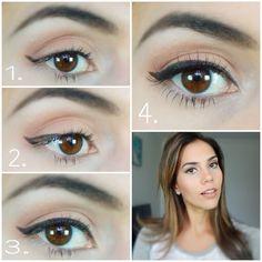 "PASO A PASO DELINEADO "" OJOS DE GATO""#cateye #tutorial #makeup #naturalmakeup"
