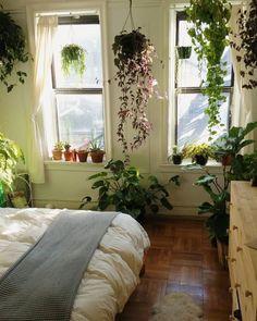 Bedroom plants galore is part of Bohemian bedroom decor - Bohemian Bedroom Decor, Decoration Bedroom, Green Decoration, Bohemian Room, Bohemian Living, Home Bedroom, Bedroom Ideas, Urban Bedroom, Garden Bedroom