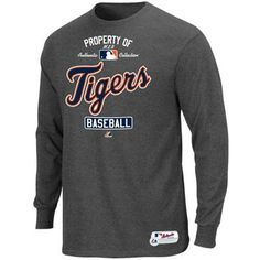 Majestic Detroit Tigers 2013 Authentic On-Field Property Of Long Sleeve T-Shirt - Ash