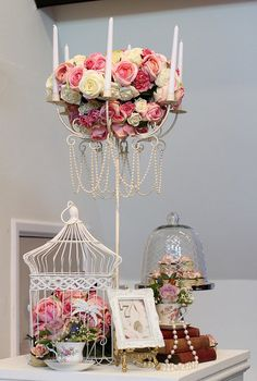 Shabby Chic Table Centrepieces  http://www.flickr.com/photos/saddleworthshindigs/5506676373/in/photostream/