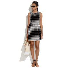 Textured-Stripe Afternoon Dress in true black | Madewell