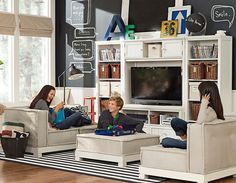Cushy Beadboard Lounge | playroom idea BUT more safe for younger chidren like Aubree :)